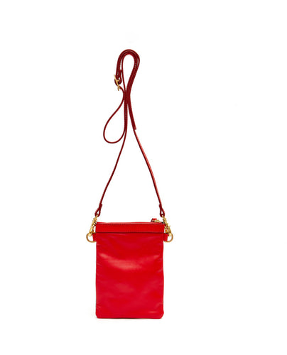 Fold Purse with shoulder strap / Cherry Red- (ki:ts)