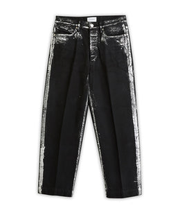 Dad Jean Crop Trousers Gintsugi / Black - TANAKA
