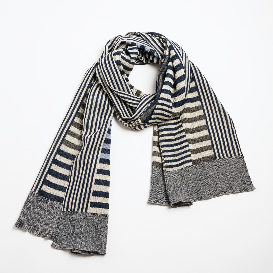 Colour Plate Scarf / Beige-Navy - NUNO
