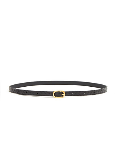 Plait Emboss Narrow Belt / Black - (ki:ts)