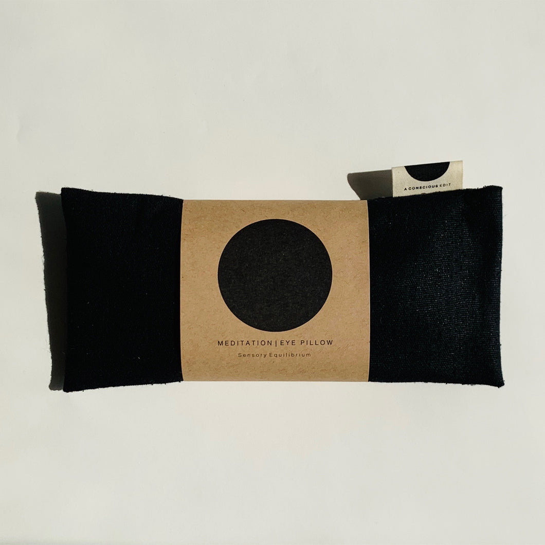 Meditation Eye Pillow - Raw Silk Black  - a conscious edit