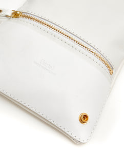 Fold Purse with shoulder strap / White - (ki:ts)