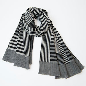 Colour Plate Scarf / White-Black - NUNO