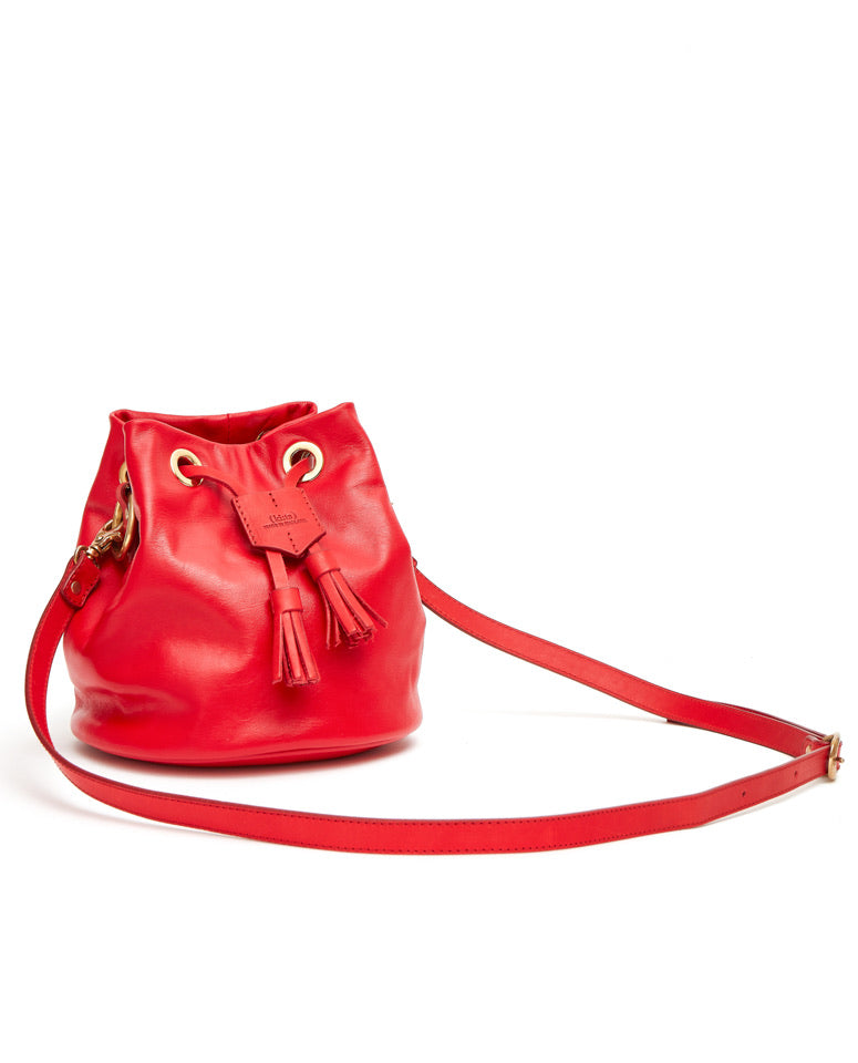 Drawstring Bag with 2 Way Shoulder Strap - S / Cherry Red- (ki:ts)