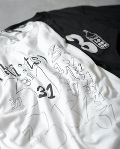 31 31 31 T-shirt / White - (ki:ts) x Black Score