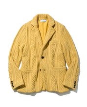 Load image into Gallery viewer, Men's Aran Cable Knit Jacket with Vintage Finish 20 / Mustard - triaa