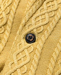 Men's Aran Cable Knit Jacket with Vintage Finish 20 / Mustard - triaa