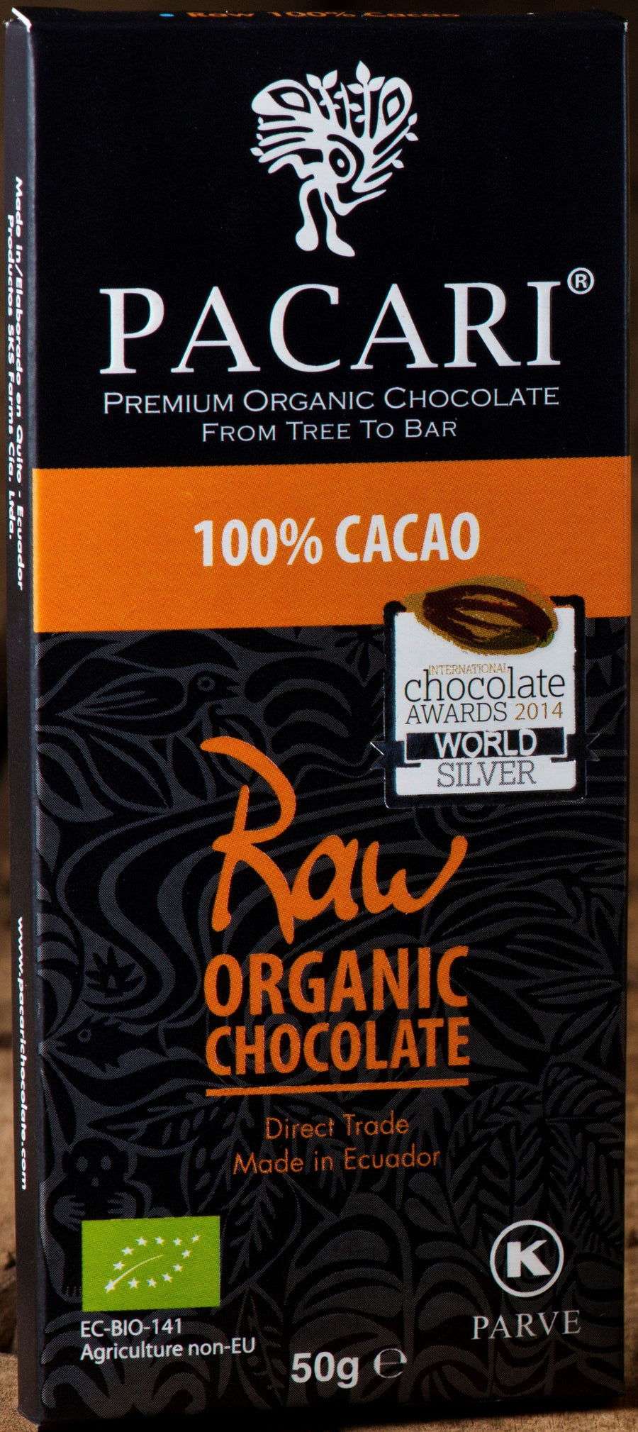Chocolate Orgánico Pacari RAW 100% 50g