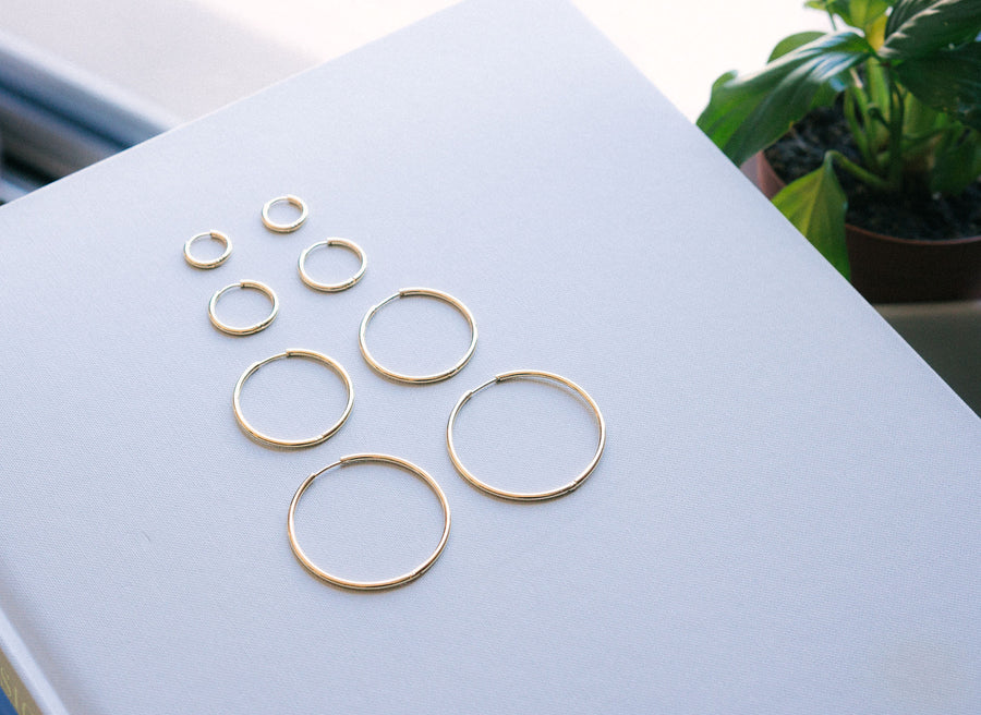 Small Modern Hoops - Gold