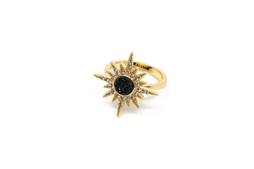 Druzy Burst Ring (Black)