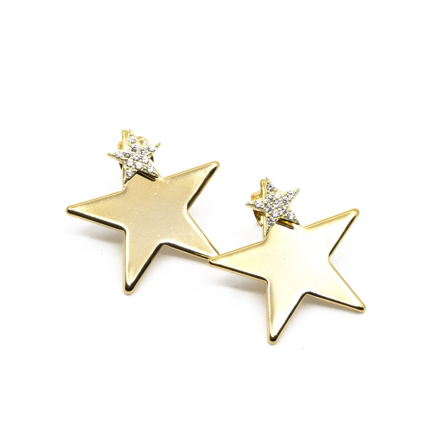 Double Stacked Star Earrings