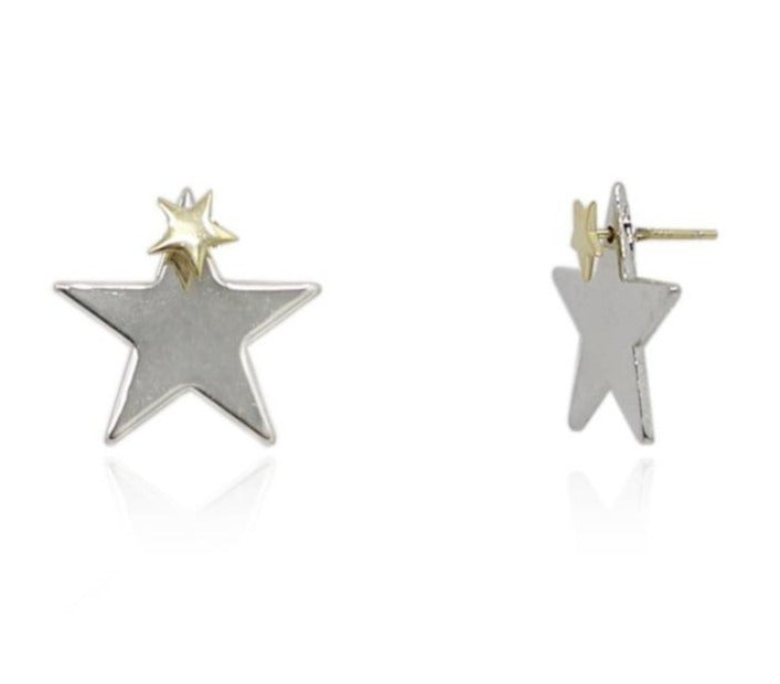 Double Stacked Star 2 Tone Earrings