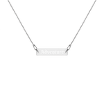 Adventure Engraved Silver Bar Chain Necklace