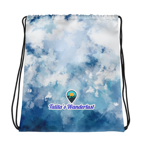 Talita's Wanderlust Drawstring Bag with Blue Dye