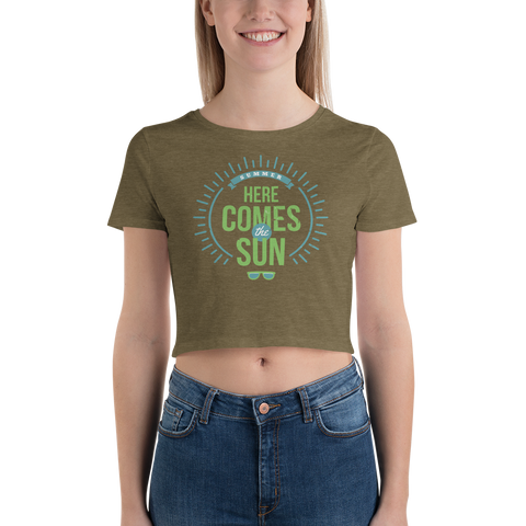 Here Comes the Sun Vintage Print Women's Crop Tee