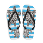 Striped Blue Flip-Flops with Marine Print