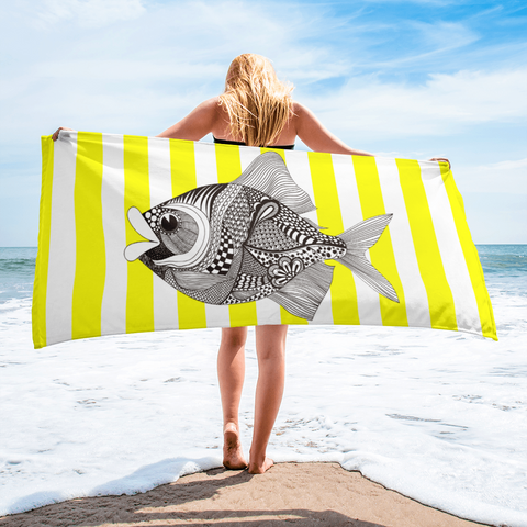 Striped Yellow Beach Towel
