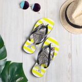 Striped Yellow Flip-Flops with Marine Print