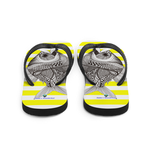 Load image into Gallery viewer, Striped Yellow Flip-Flops with Marine Print