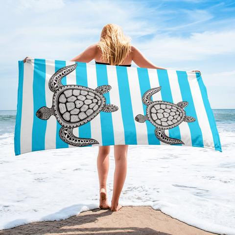Striped Blue Beach Towel