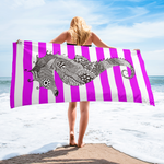 Striped Pink Beach Towel