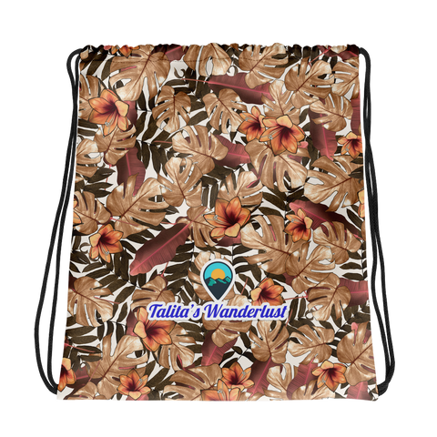Talita's Wanderlust Drawstring bag with Orange Floral Print