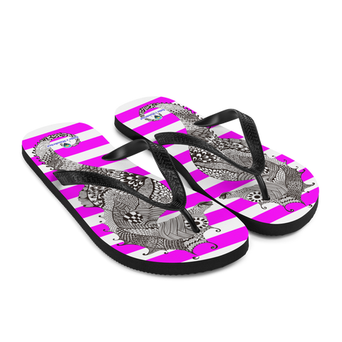 Striped Pink Flip-Flops with Marine Print
