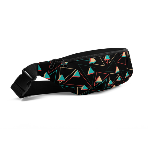 Black Fanny Pack with Triangles Print