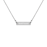 World Traveler Engraved Silver Bar Chain Necklace