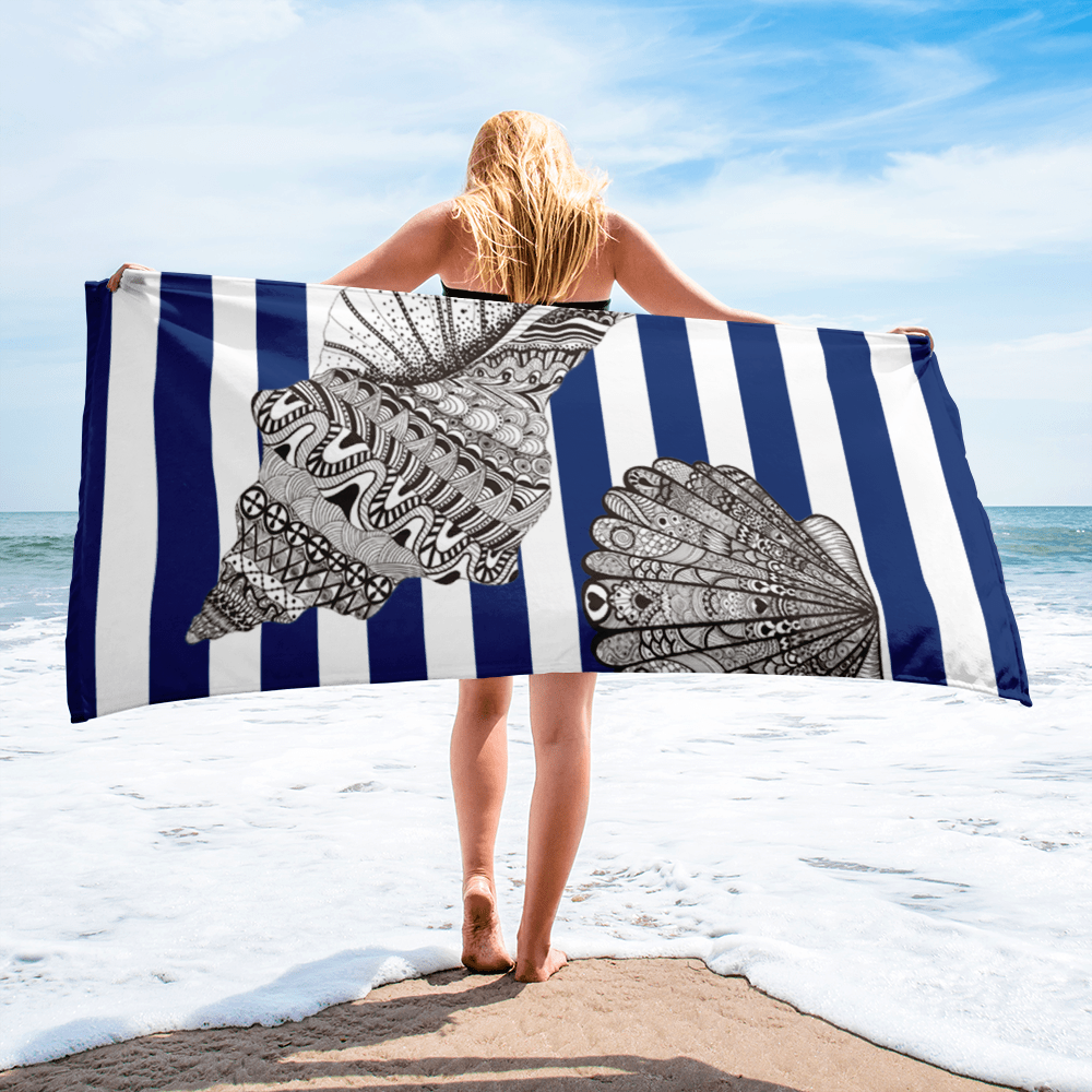 Striped Navy Beach Towel
