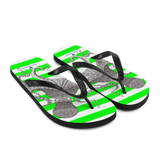 Striped Green Flip-Flops with Marine Print