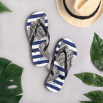 Striped Navy Flip-Flops with Marine Print