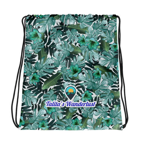 Talita's Wanderlust Drawstring bag with Green Floral Print