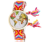 Fashion Wool Weave Female Wrist Watches with Map