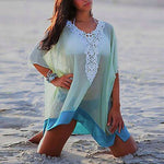 Blue Chiffon Wrap Beach Dress