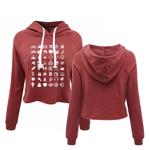 Women's Travel World Icon Speak Cropped Hoodie