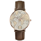 World Map Unisex Watch with Black Leather Strap