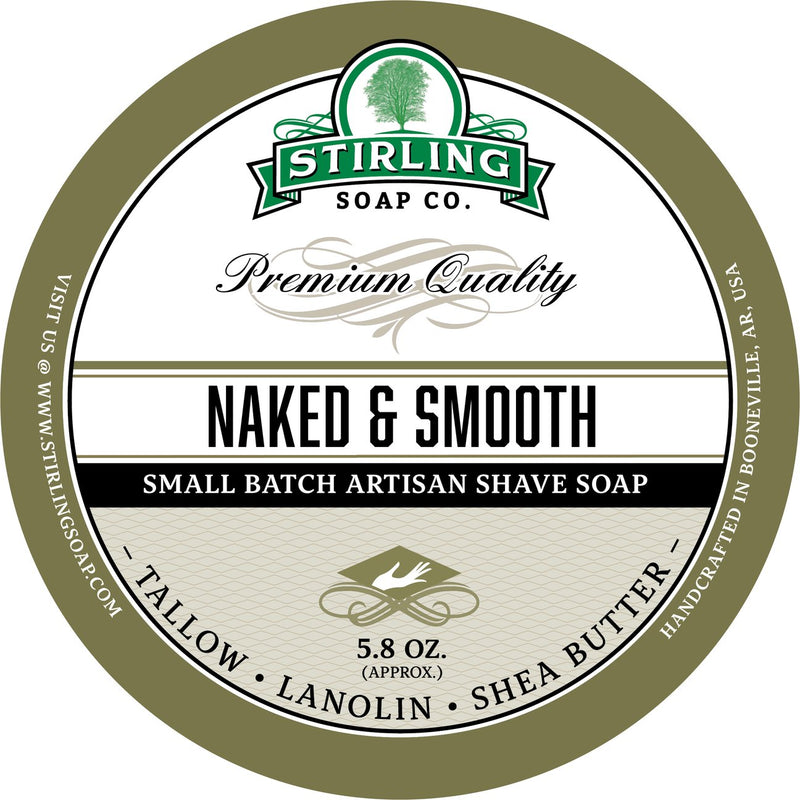 Stirling Soap Company NAKED & SMOOTH UNSCENTED Shave Soap