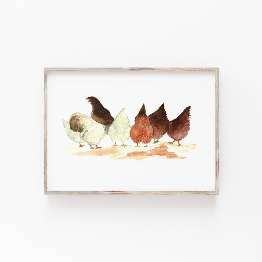 Winter Chickens Print