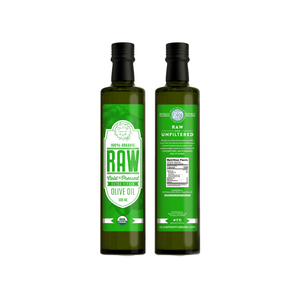 HIGH POLYPHENOLS! Raw & Unfiltered ORGANIC Extra Virgin Olive Oil (8 BOTTLES) - Olive from the Raw