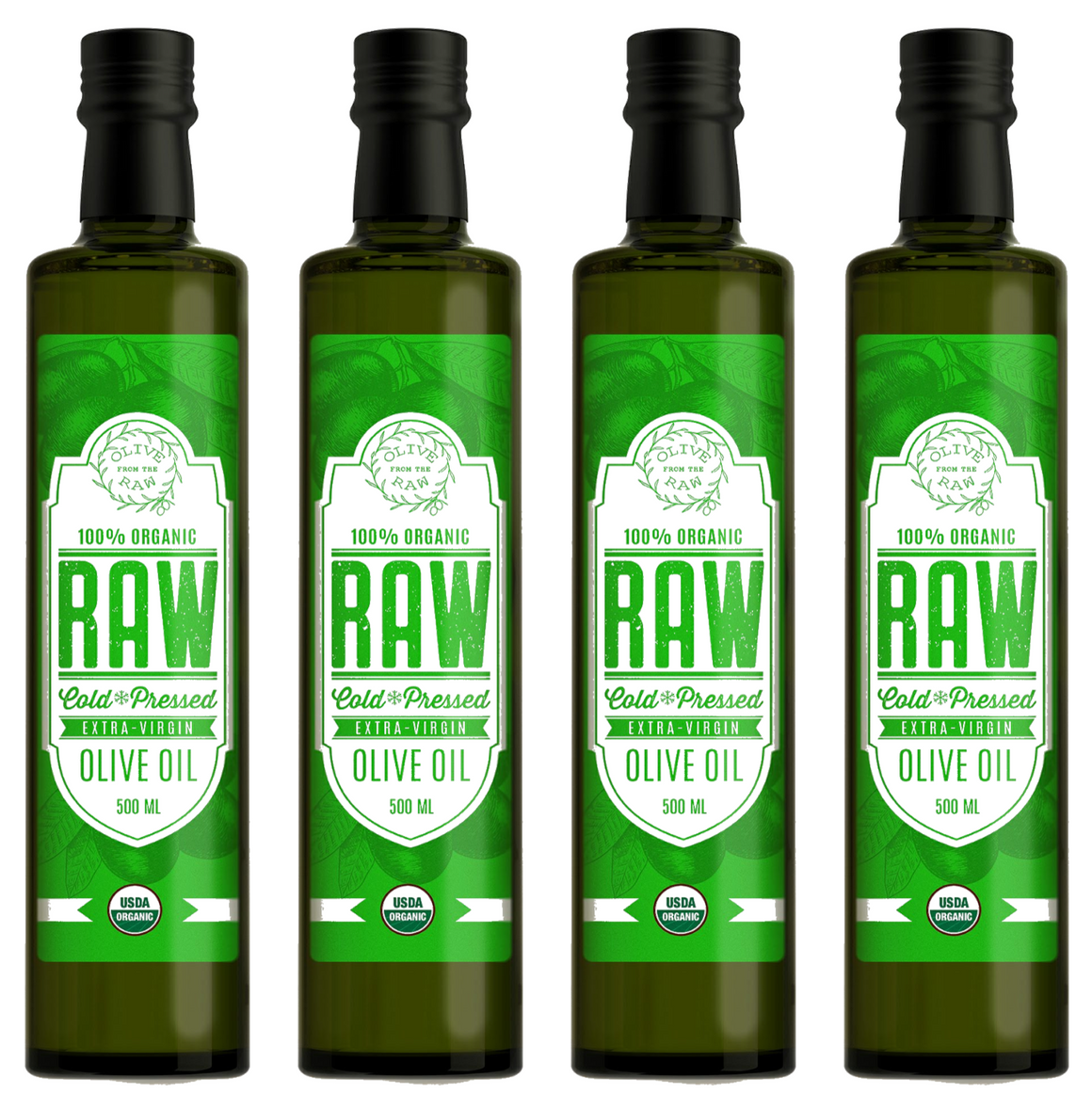 Olive from the RAW  UNFILTERED. High Polyphenols. ORGANIC Extra Virgin Olive Oil. MADE IN ITALY (4 BOTTLES)