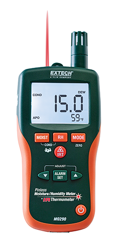 Extech MO290: Pinless Moisture Meter,  Psychrometer + IR 8-in-1 Meter with Built-in IR Thermometer