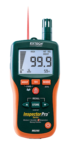 Extech MO295: Pinless Moisture Psychrometer + IR Thermometer