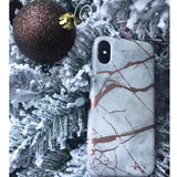 Luxury HQ Rose Chrome Marble Soft Case For iPhone XS / X
