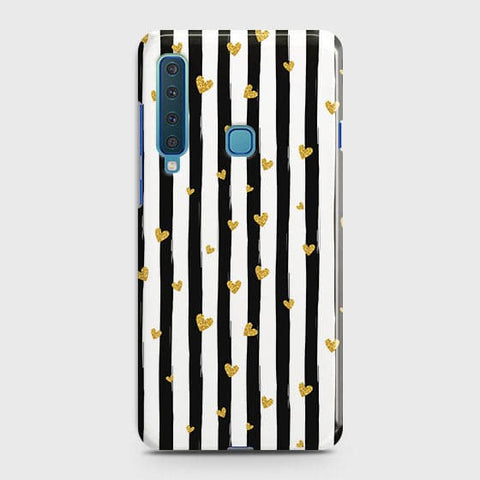Trendy Black & White Strips With Golden Hearts Hard Case For Samsung Galaxy A9 2018 / A9s / A9 Star Pro