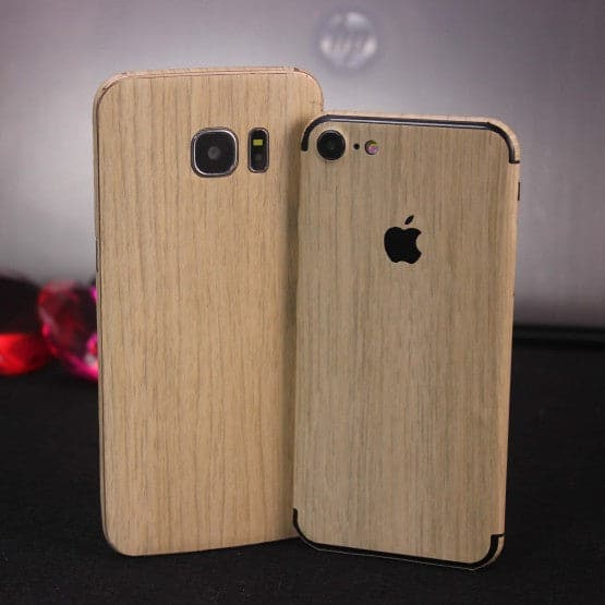 Wood Material Vinyl Phone Skin For iPhone XS - Bamboo Wood