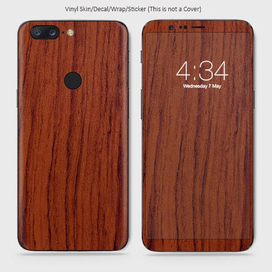 Wood Material Vinyl Phone Skin For OnePlus 5T - Acacia Wood