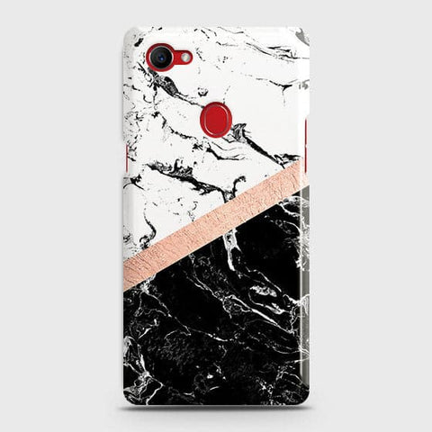 3D Black & White Marble With Chic RoseGold Strip Case For Oppo F7 Youth / Realme 1