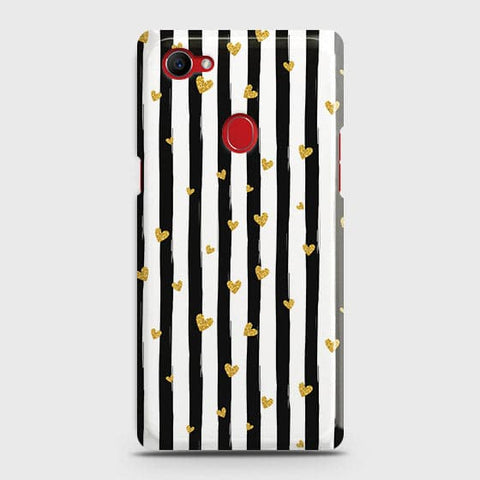 Trendy Black & White Strips With Golden Hearts Hard Case For Oppo F7 Youth / Realme 1