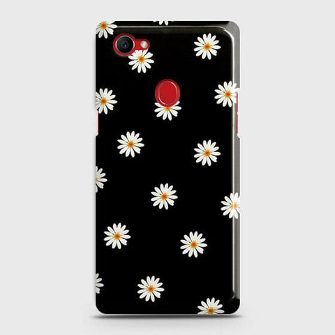 White Bloom Flowers with Black Background Case For Oppo F7 Youth / Realme 1